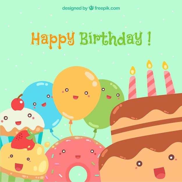 Feliz cumpleaños con globos y pasteles sonrientes vector gratuito