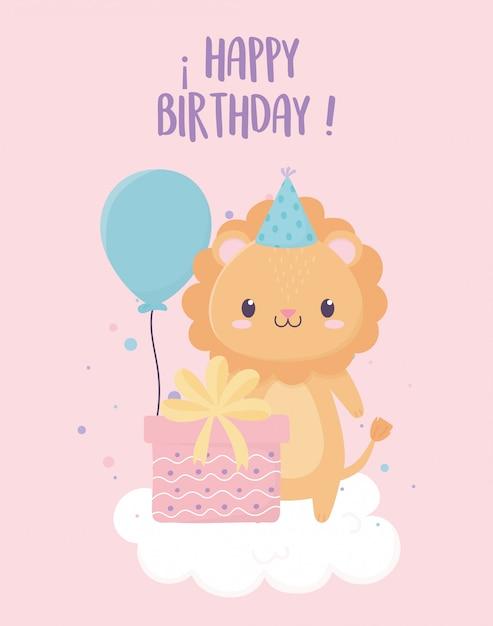 Feliz cumpleaños león con globos de regalo de sombrero de fiesta en decoración de celebración de nube Vector Premium