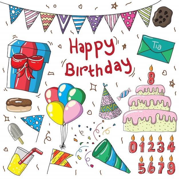 Feliz cumpleaños letras y elementos de diseño de decoración Vector Premium
