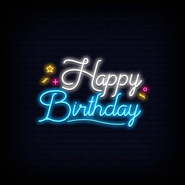 Feliz cumpleaños letras neón letrero efecto Vector Premium
