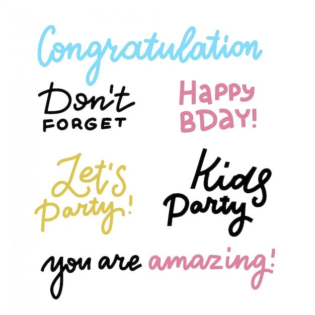 Feliz Cumpleaños Letras Signo Cita Tipografía Conjunto Diseño De Caligrafía Para Diseño De Carteles Postales Caligrafía