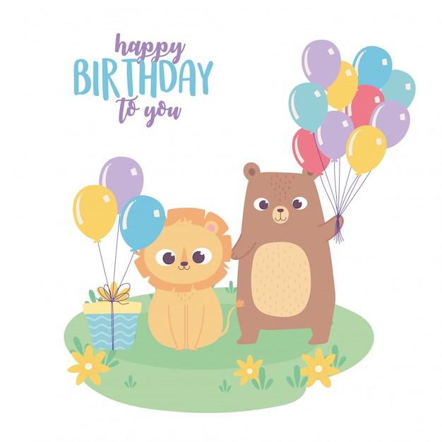 Feliz cumpleaños, lindo osito león con regalo y globos celebración decoración dibujos animados Vector Premium