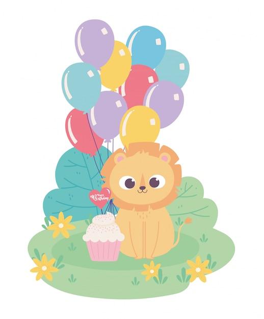Feliz cumpleaños, lindo pequeño león con globos de sombrero de fiesta y dibujos animados de decoración de celebración de cupcake Vector Premium