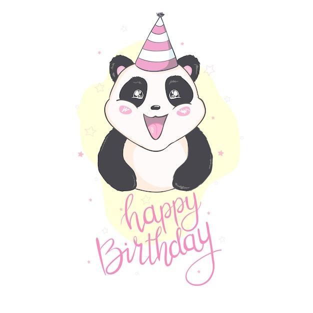 Feliz cumpleaños panda en tarjeta blanca Vector Premium
