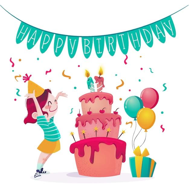 Feliz cumpleaños con pastel y confeti Vector Premium