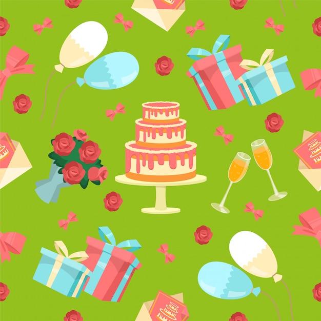 Feliz cumpleaños de patrones sin fisuras Vector Premium