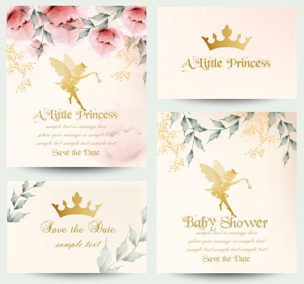 Feliz cumpleaños pequeña princesa tarjetas colección Vector Premium