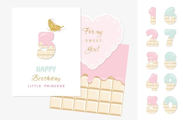 Feliz cumpleaños princesita, tarjeta de felicitación con conjunto de números de chocolate Vector Premium