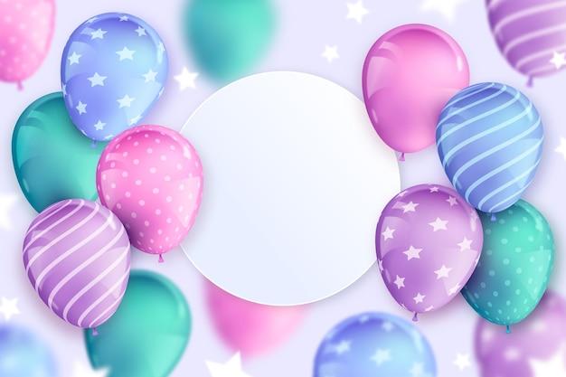 Feliz cumpleaños realista globos fondo copia espacio vector gratuito