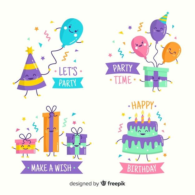 Feliz cumpleaños con regalos y globos vector gratuito