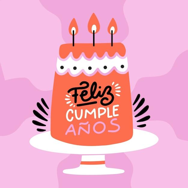 Feliz cumpleaños rotulación diseño plano vector gratuito