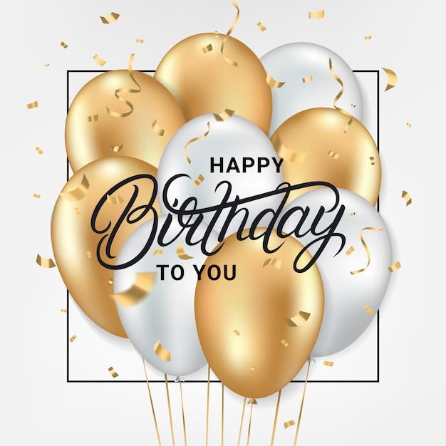 Feliz cumpleaños, tarjeta de felicitación Vector Premium