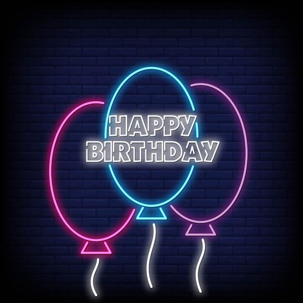 Feliz Cumpleaños Tarjeta De Neón Vector Premium