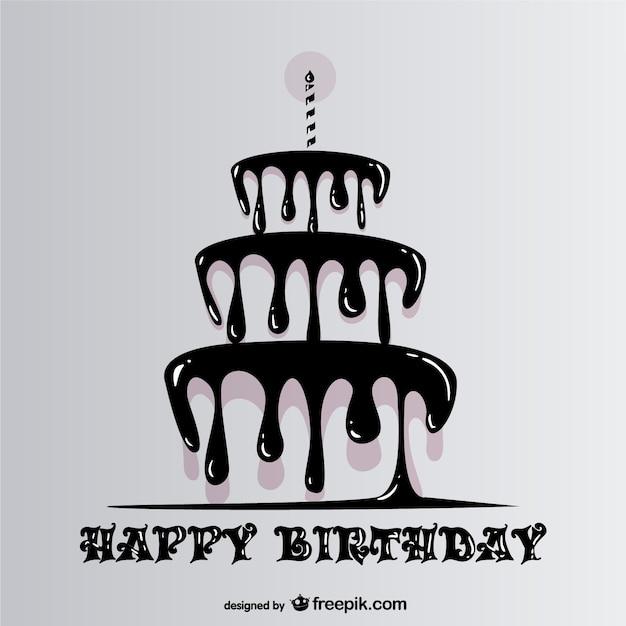 Feliz cumpleaños con tarta goteando vector gratuito