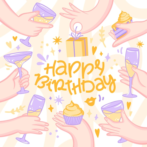 Feliz cumpleaños a ti junto a amigos vector gratuito