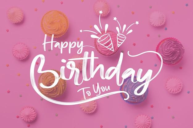 Feliz cumpleaños a ti letras con sombreros de fiesta vector gratuito