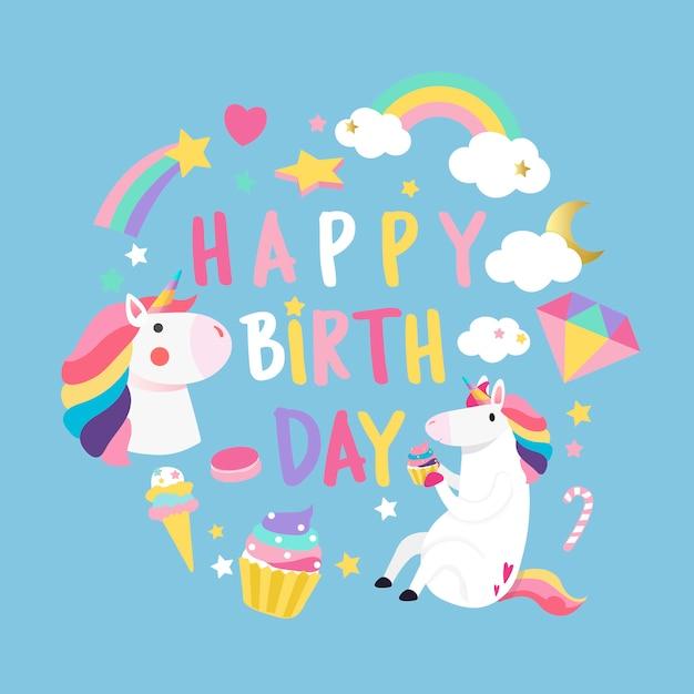Feliz cumpleaños unicornio con vector de tarjeta de elementos mágicos vector gratuito