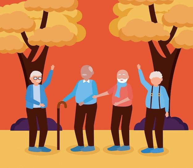 Feliz día de los abuelos diseño plano vector gratuito