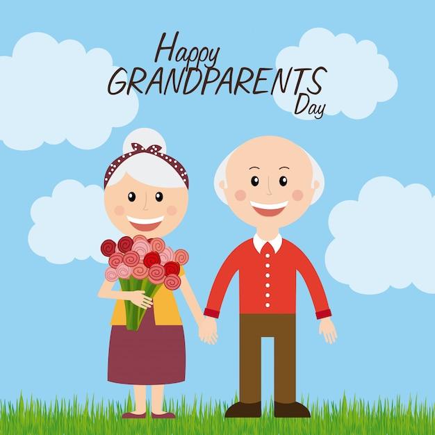 Feliz dia de los abuelos Vector Premium