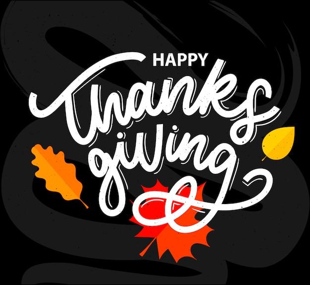 Feliz día de acción de gracias cepillo mano letras, aislado sobre fondo blanco. Vector Premium
