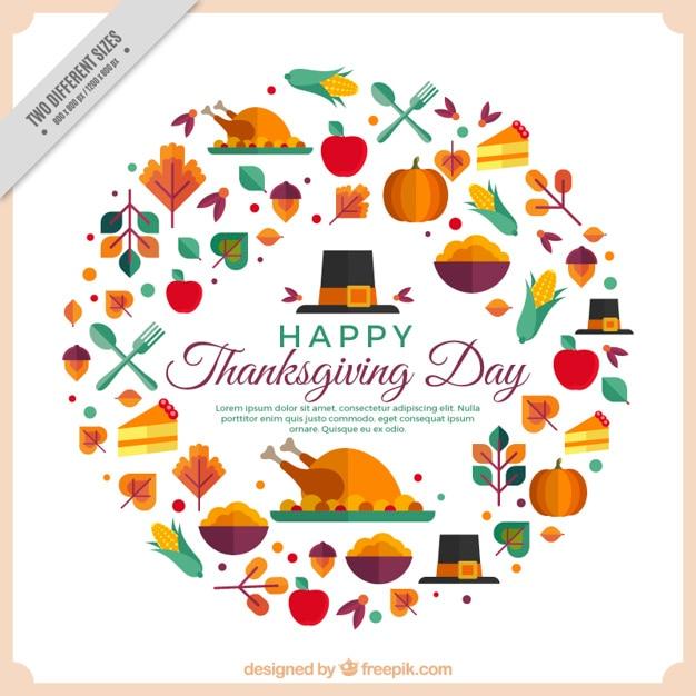 Feliz Dia De Accion De Gracia >> Feliz día de acción de gracias con elementos geométricos | Descargar Vectores gratis