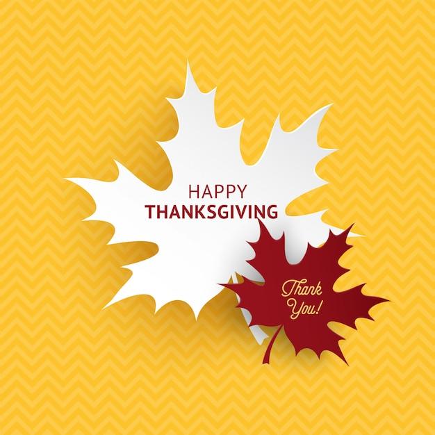 Feliz día de acción de gracias hojas de papel de otoño Vector Premium