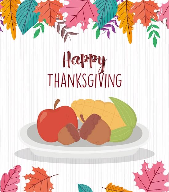 Feliz día de acción de gracias maíz manzana y bellotas Vector Premium