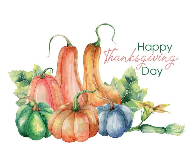 Feliz día de acción de gracias tarjeta de felicitación con calabazas Vector Premium