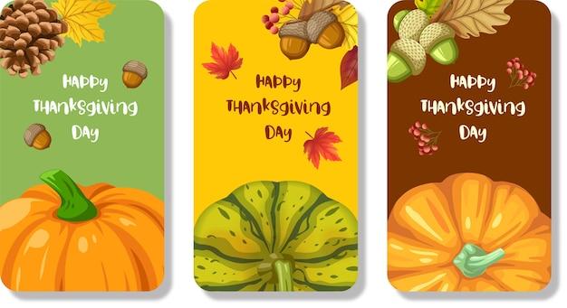 Feliz día de acción de gracias tarjeta o volante con calabaza, maíz, nueces, hojas y piñas secas vector gratuito