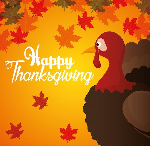 Feliz día de acción de gracias tarjeta turquía otoño fondo vector gratuito
