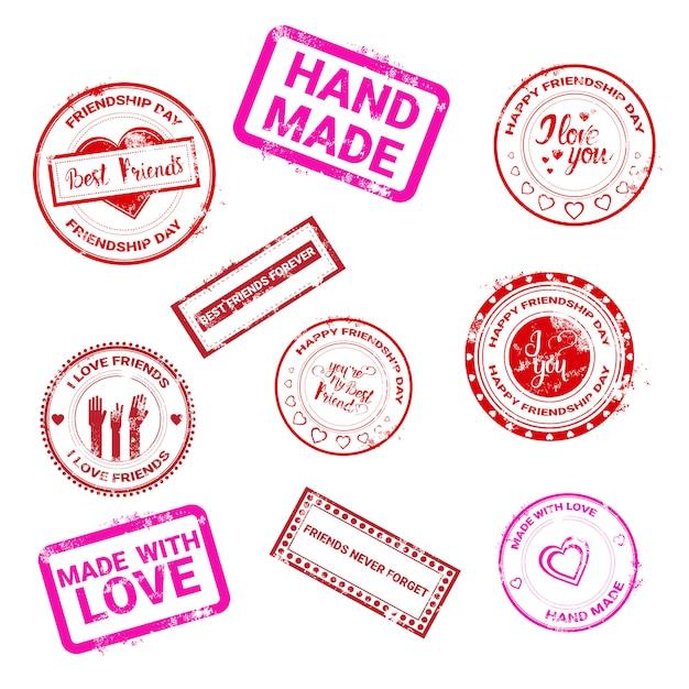 Feliz día de la amistad colección de sellos logotipo tarjeta de felicitación amigos vacaciones Vector Premium