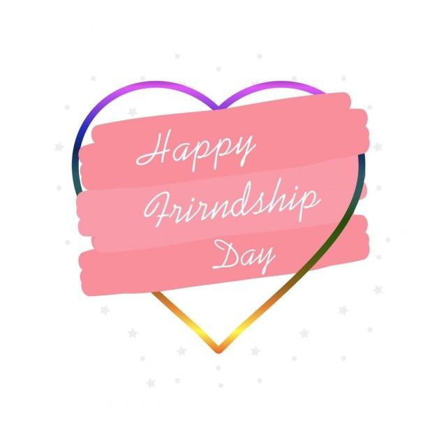 Feliz Día De La Amistad Con Un Corazón Descargar Vectores Gratis