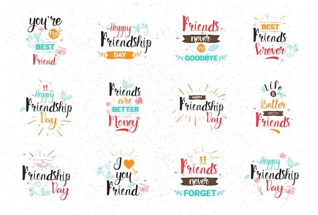 Feliz día de la amistad logo set colección de tarjetas de felicitación amigos holiday banner Vector Premium