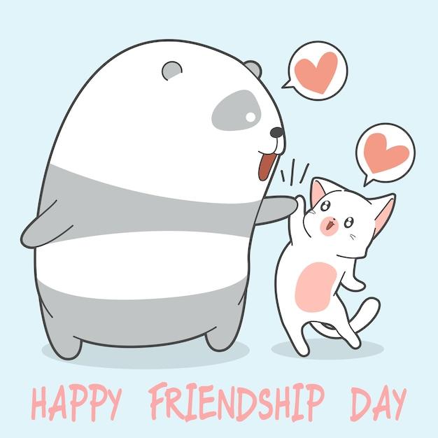 Feliz día de la amistad con panda y gato. Vector Premium