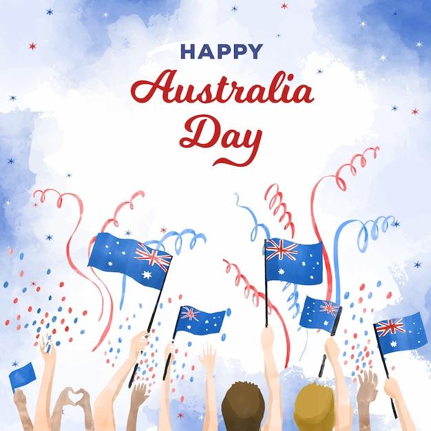 Feliz día de australia personas sosteniendo banderas vector gratuito