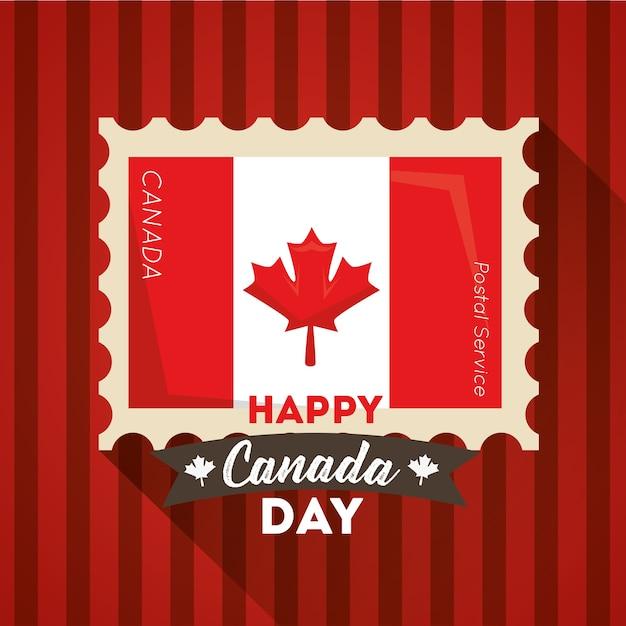 Feliz Día De Canadá Bandera Estampilla Bandera Canadiense
