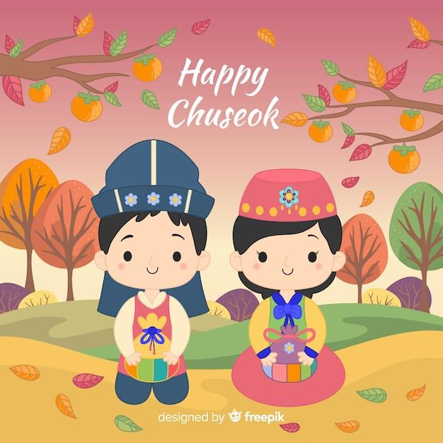 Feliz día de chuseok con dibujos animados   Vector Gratis