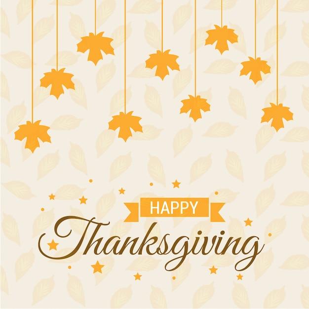 Feliz día de acción de gracias creativa tipografía con hojas de ...
