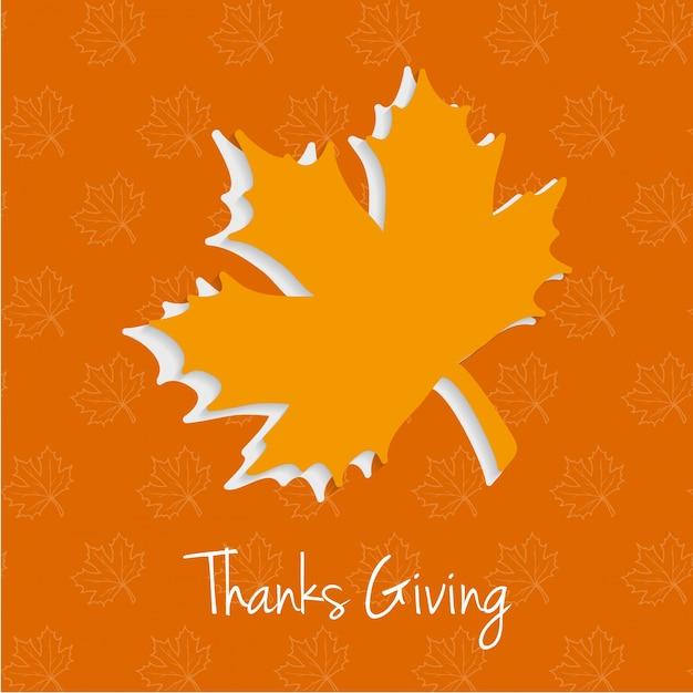 Feliz día de acción de gracias tipografía creativa con hojas de ...