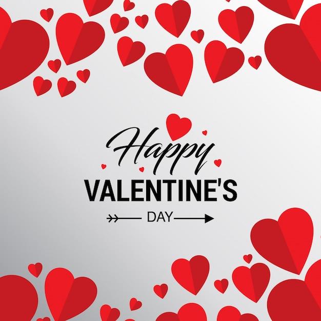 Feliz día de San Valentín tarjeta con corazones Vector Gratis