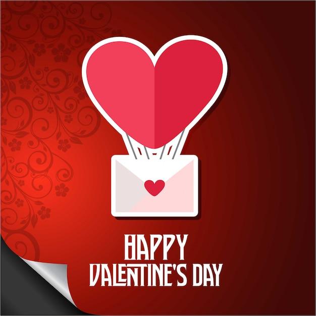 Feliz dia de los enamorados corazón del globo vector gratuito