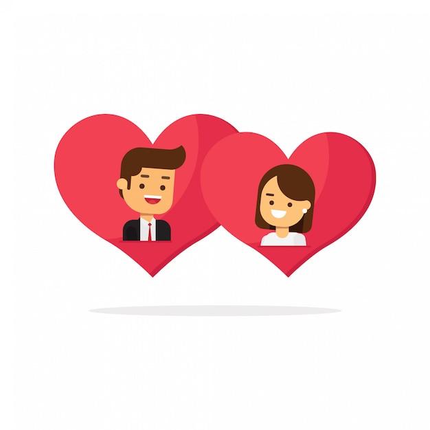 Feliz día de los enamorados, hombre y mujer enamorados en dos corazones juntos. Vector Premium