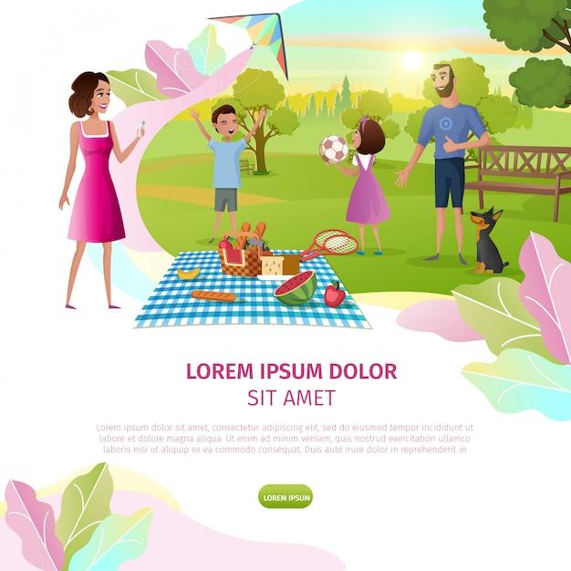 Feliz día de la familia de dibujos animados vector web banner Vector Premium