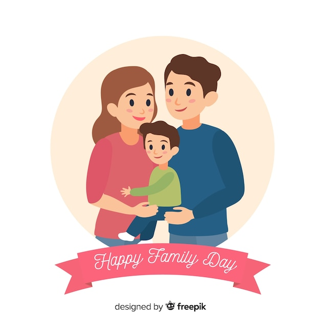 Feliz día de la familia vector gratuito