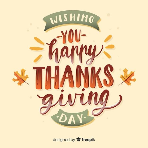 Feliz día de gracias letras vector gratuito