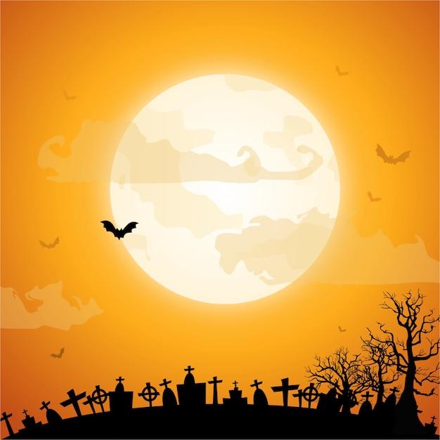 Feliz día de halloween con un fondo de luna llena Vector Premium