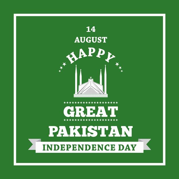 Feliz día de la independencia 14 de agosto pakistán tarjeta de felicitación Vector Premium