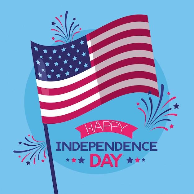 Feliz día de la independencia americana vector gratuito