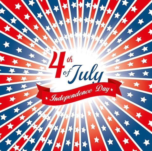 Feliz día de la independencia, celebración del 4 de julio en los estados unidos de américa. vector gratuito