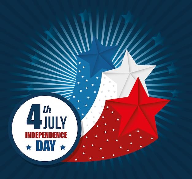 Feliz día de la independencia de estados unidos, celebración del 4 de julio vector gratuito